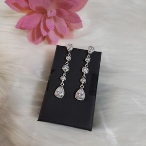 White Topaz Pageant Prom Earrings